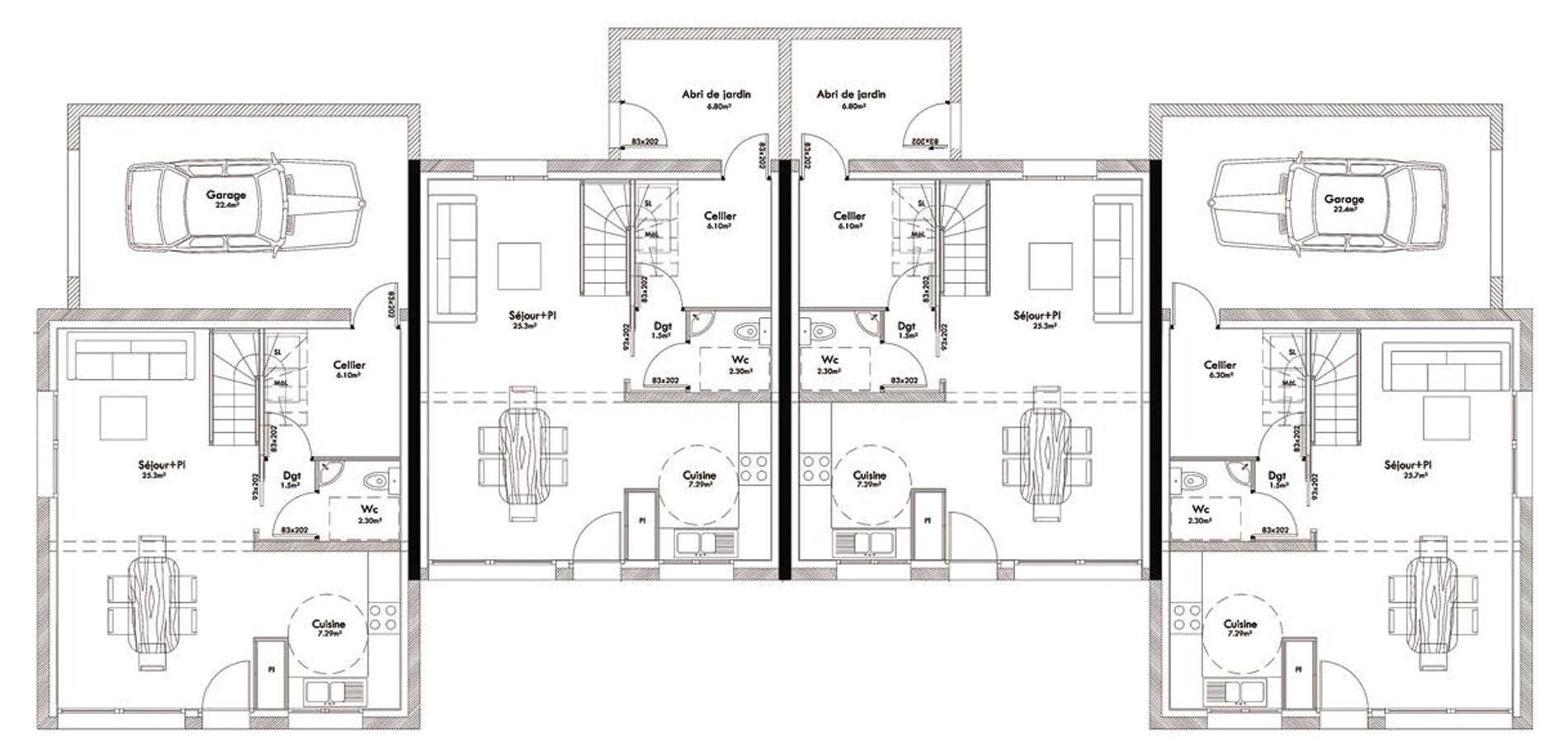 plan de maison 4 logements
